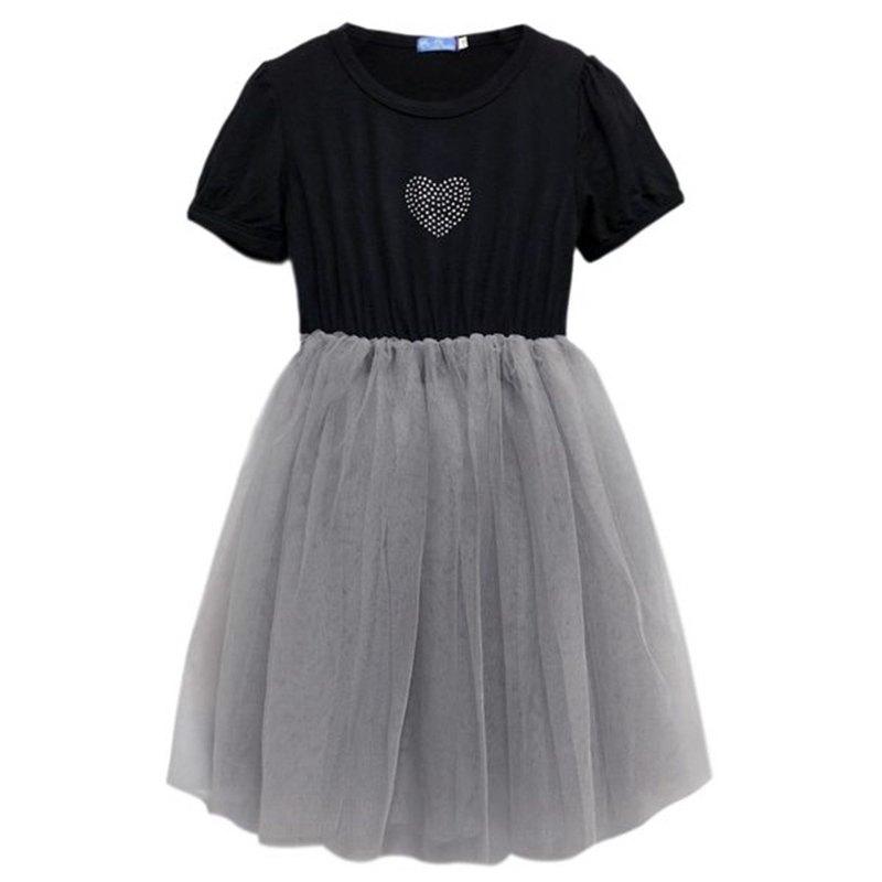 燙鑽短袖連身紗裙洋裝 Dress Tu Tu-BlackGray-Heart 黑灰-愛心