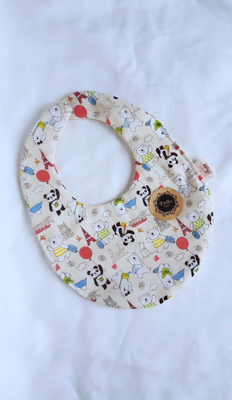 熊貓北極熊遊日本-米色-八重紗100%cotton雙面蛋型圍兜.口水巾
