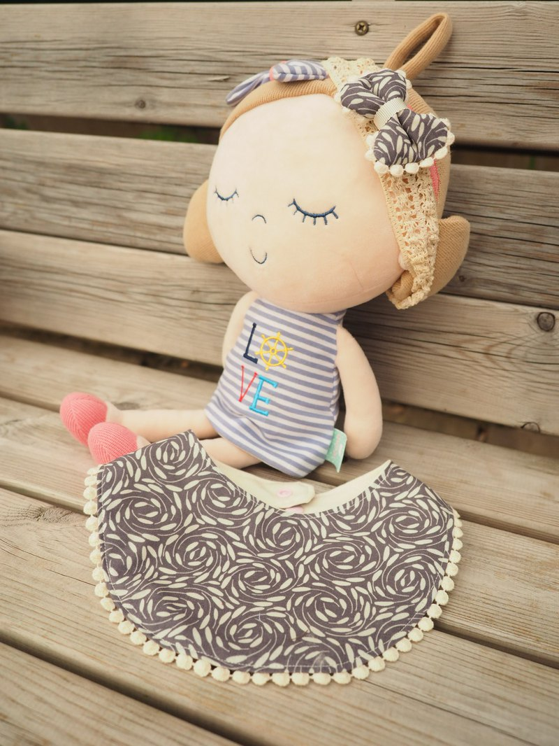 英國布料 手工嬰兒小童圍兜口水肩髮夾髮帶套裝 花朵 彌月禮物
