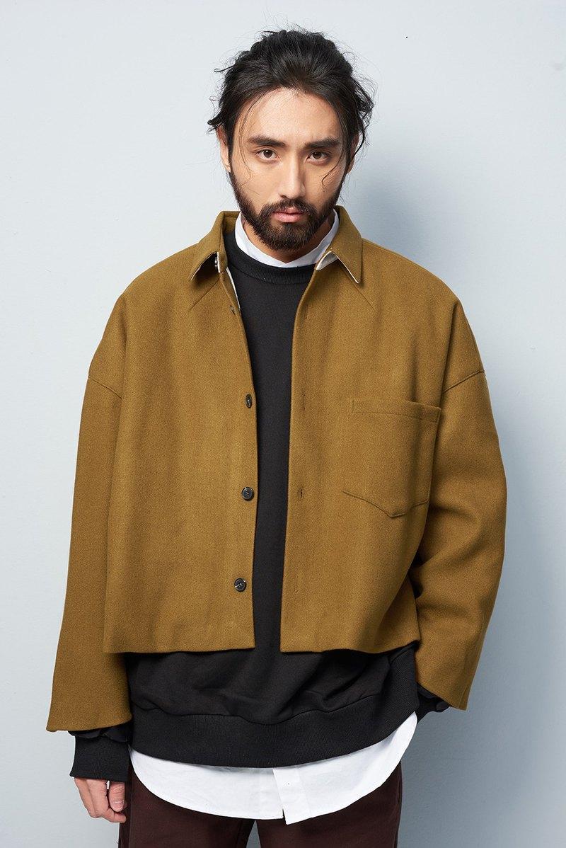 簡約短版毛呢外套 #9229