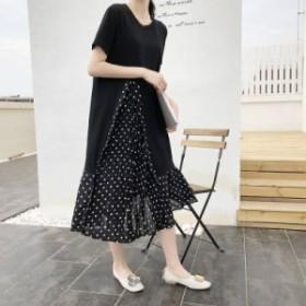 ワンピース ロング丈 半袖 プリーツ 切り替え ドッキング レイヤード風 大人カジュアル レディース ファッション 韓国 オルチャン