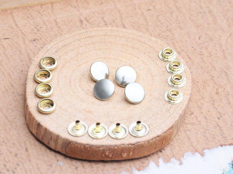小跳豆系列 - 12.5mm釦面四合釦 真鍮純銅色 SHINCHU 4入組 手工皮革 個人化 皮革DIY 皮革工具 四合釦 啪鈕 車縫鈕 打鈕工具