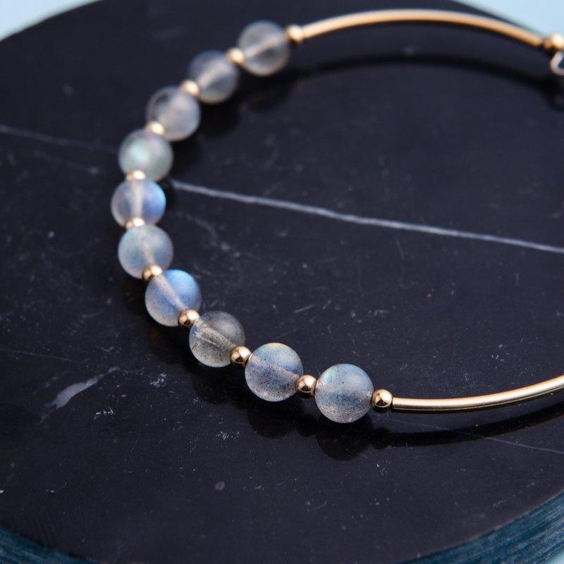 拉長石手鍊 | 四季交響曲手環系列 | 14K包金天然石水晶手鍊