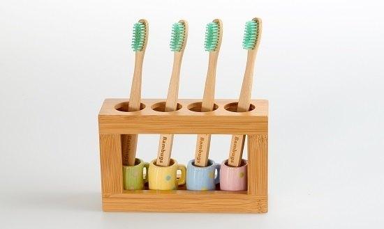竹製牙刷架(含陶杯)+附贈一支竹牙刷
