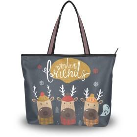 MASAI トートバッグ 鹿柄 クリスマス 大容量 レディース 軽量おしゃれa4肩掛け 2way ファスナー付き布通勤通学