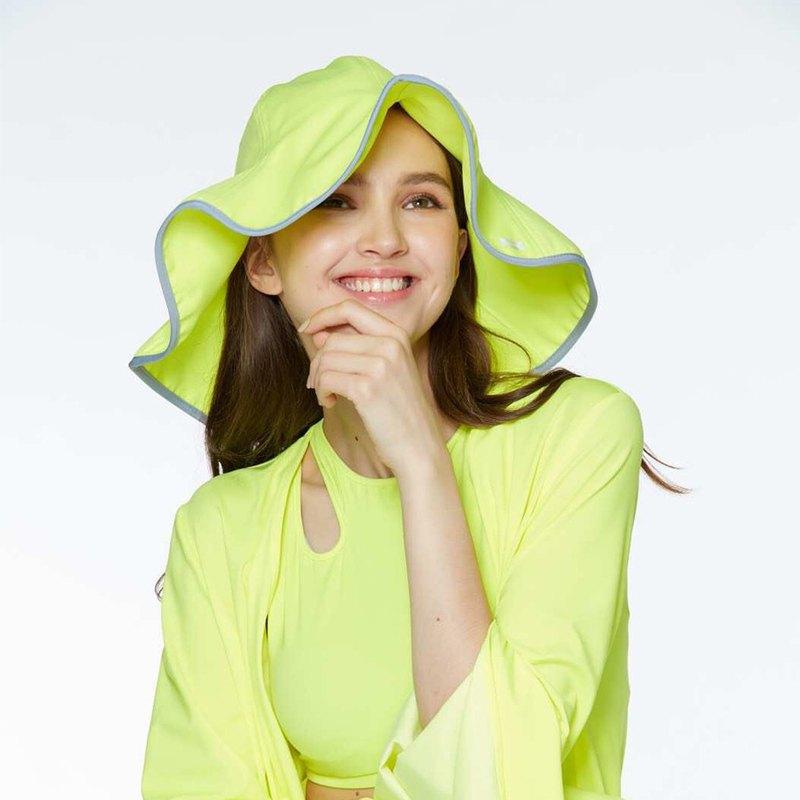 【HOII后益】防曬荷葉邊花瓣帽(大)-黃