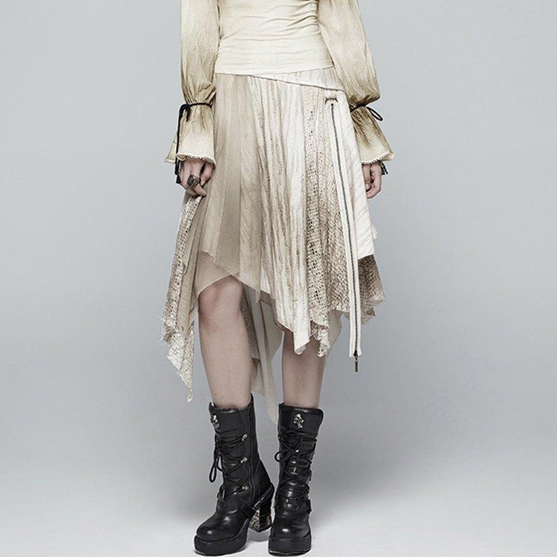 加勒比蒸汽龐克不規則擺半裙 - 多色 / 白色XL-2XL售完