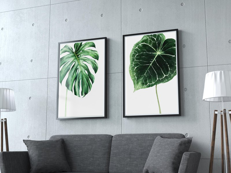 【綠葉】限量版複製畫   北歐風1組2幅綠植掛畫   龜背芋花燭植栽