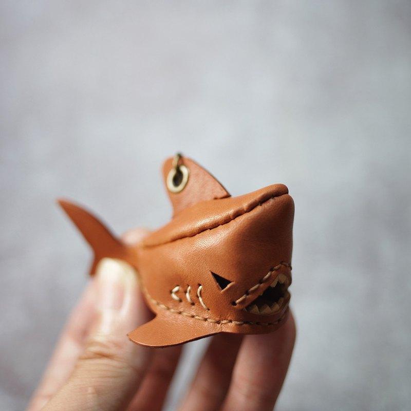 純手工製 迷你 棕色 鯊魚 鑰匙圈 shark Key holder