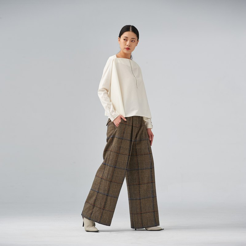 格紋毛料女寬褲