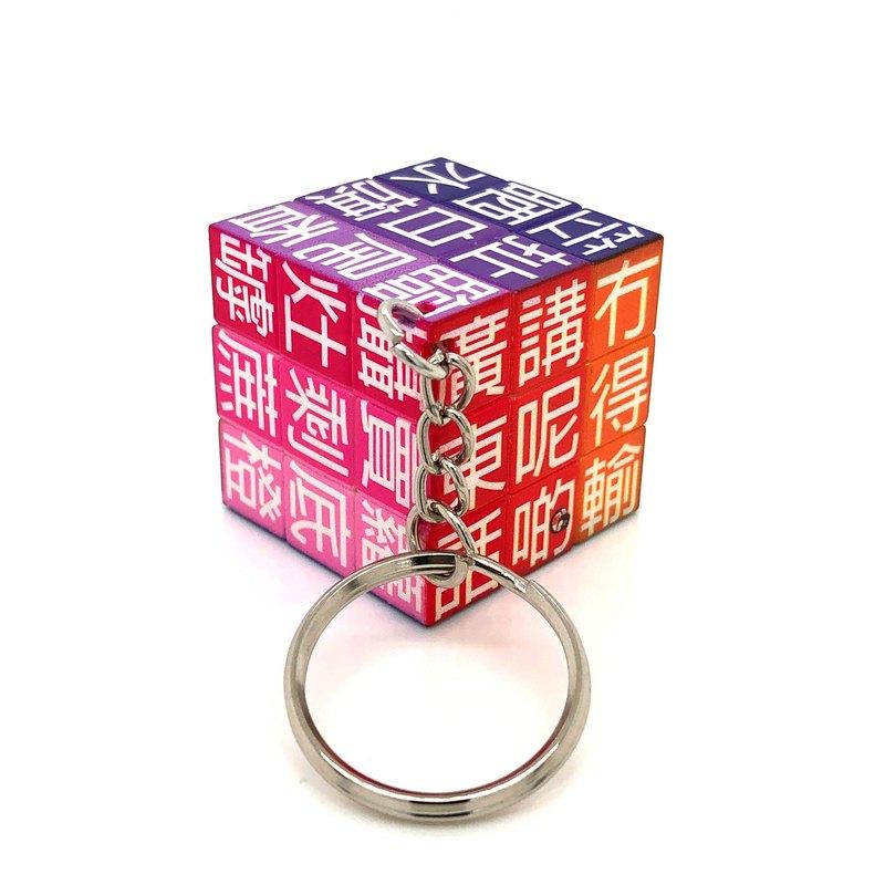 JS019~ 【廣東話】扭計骰鑰匙扣 (3x3x3cm)