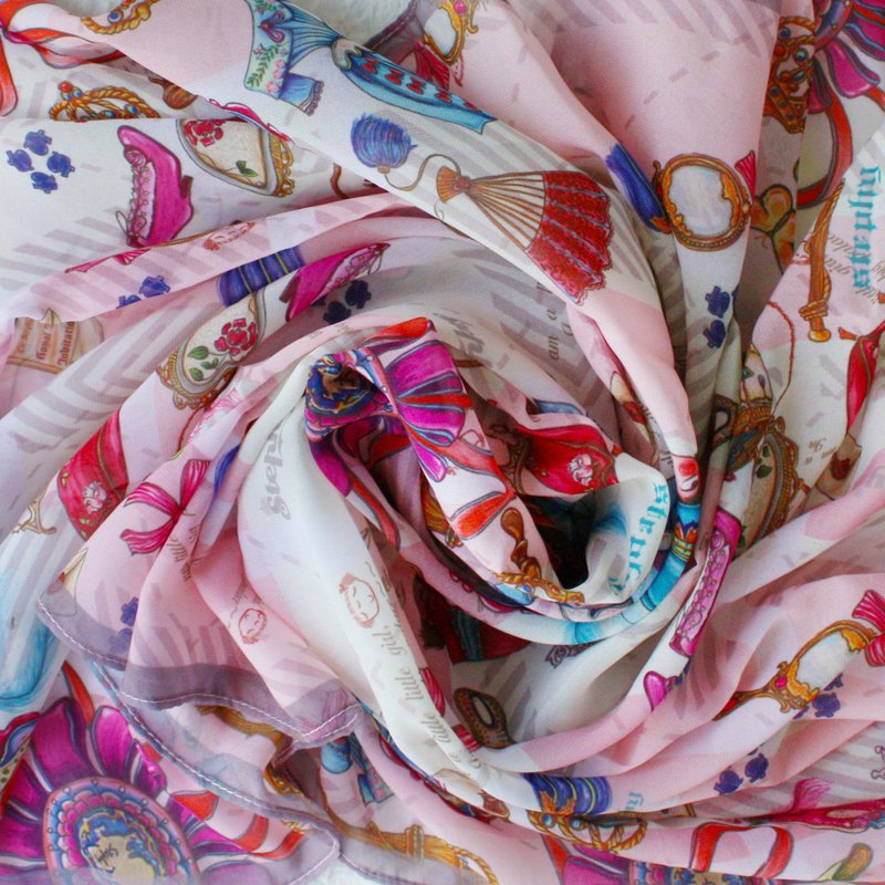 Stephy愛打扮/超柔雪紡長絲巾/伴娘禮物/絲巾送絲巾扣【客製化】