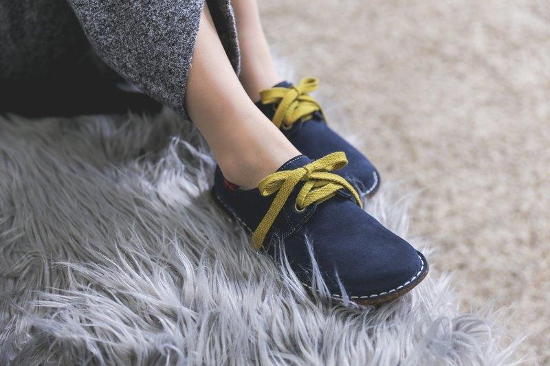 日系甜美麂皮大頭鞋 _ 深海藍