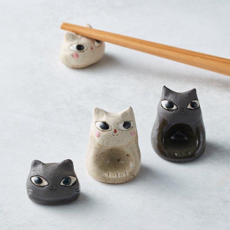 有種創意 - 日本美濃燒 - 陶製手作筷架 - 貓臉-白