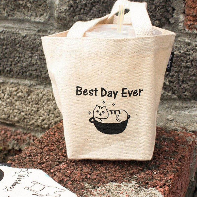 Chuyu 布麻帆飲料手提袋/飲料杯袋