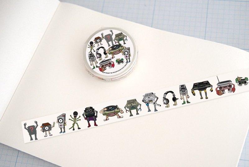耳機狗音響人 紙膠帶(共有820幾隻音響怪物)1.5x1000cm 日本和紙