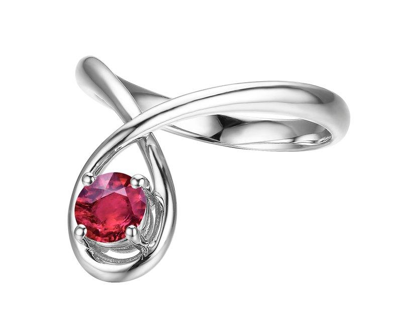 極簡主義紅寶石婚戒 14K白金戒指 簡約求婚金戒指 優雅鴿血紅戒指