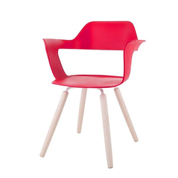 MUSE 沐司_四腳椅/裸紅   木紋腳 (商品僅配送台灣地區)