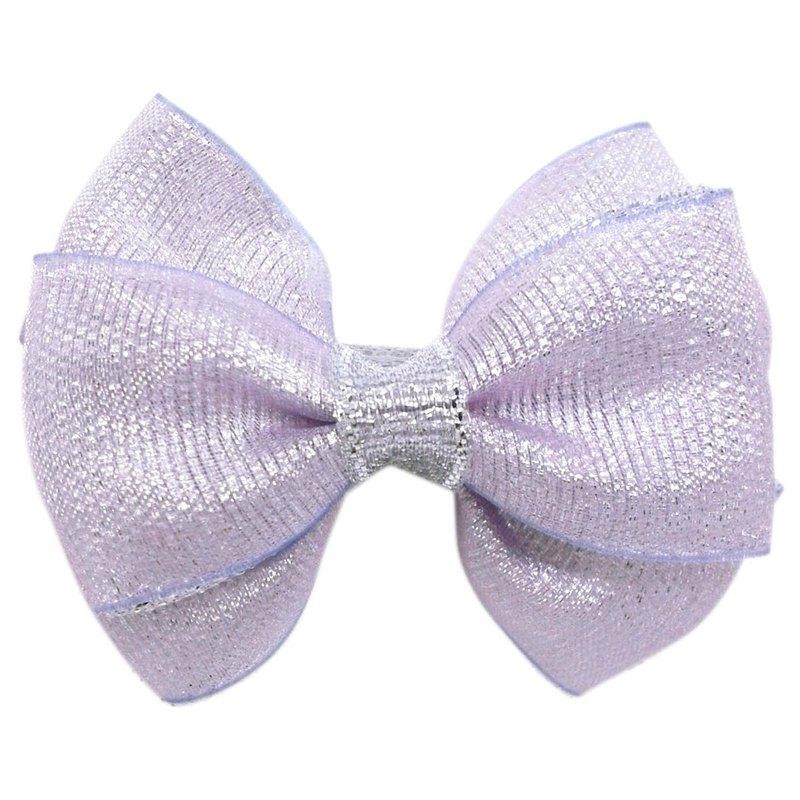Cutie Bella 銀蔥小蝴蝶結髮夾 全包布手工髮飾Sparkle-Lilac