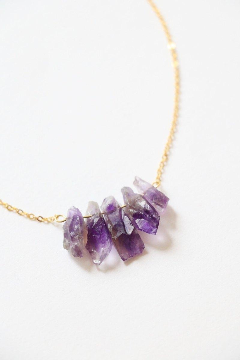 天然紫水晶 原石頸鍊項鍊 紫水晶項鍊 鍍金輕珠寶頸鍊