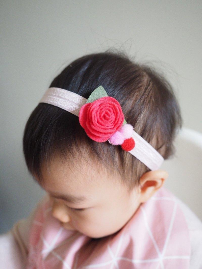 嬰兒女孩羊毛氈紅色小花彈性髮帶  適合百日宴彌月拍攝
