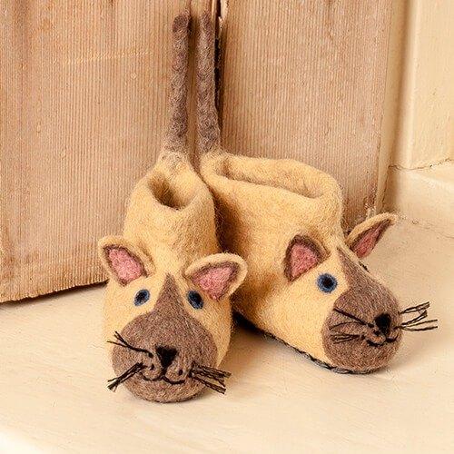 生日禮 - 保暖室內鞋 彌月禮 英國sew heart felt放牧小羊羊毛氈鞋-藍眼貓