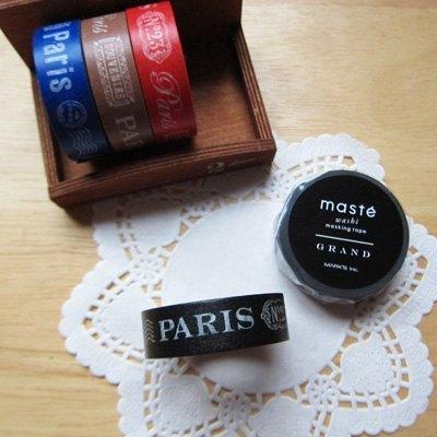 maste Masking Tape 和紙膠帶【巴黎文字-黑 (MSG-MKT10-BK)】