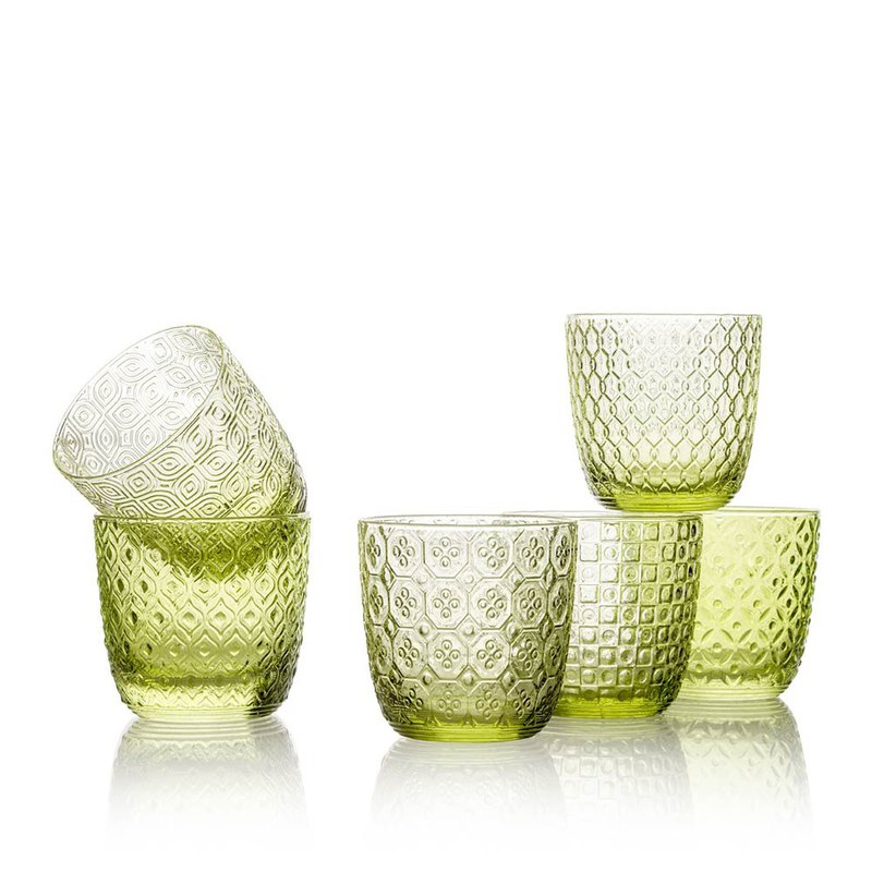SIXTIES系列-310ml圖騰窗花手工玻璃杯6入組-青綠-原廠盒裝