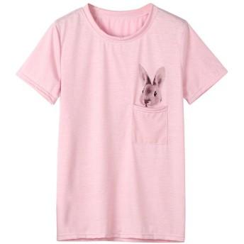 Tシャツ レディース Hattare ラビット柄 うさぎ プリント 快適 半袖 トップス ピンク ホワイト 吸水速乾 無地 カジュアル 薄手 プレゼント おしゃれ ワンポイント T-shirt 女の子 可愛い 上着 ゆったり トレーナー 通勤通学 スポーツ