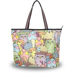 SoreSore(ソレソレ)トートバッグ 大容量 レディース メンズ フクロウ 鳥柄 おもしろ かわいい 可愛い バッグ ハンドバッグ ファスナー 大きめ 通学 旅行 帆布 プレゼント