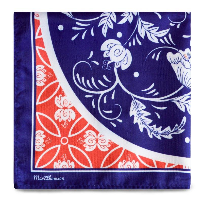 娘惹風 瓷磚印花方巾 深蓝与红色