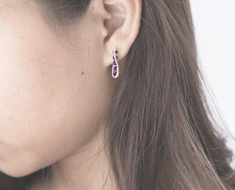 14k黃金流線型耳環 紫水晶輕珠寶 簡約黃金耳環 創新韓風K金耳釘