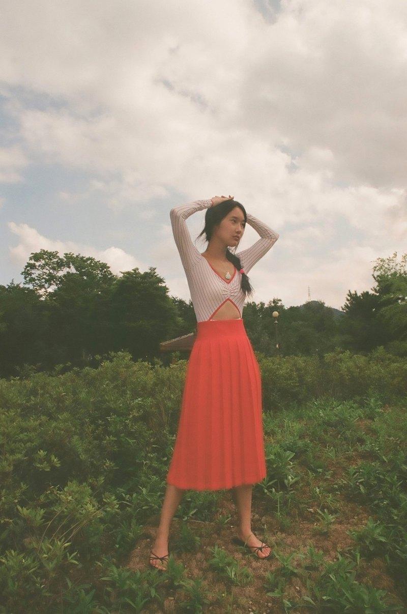 Aprilpoolday / MIDI PLEATED SKIRT /紅色/ XL