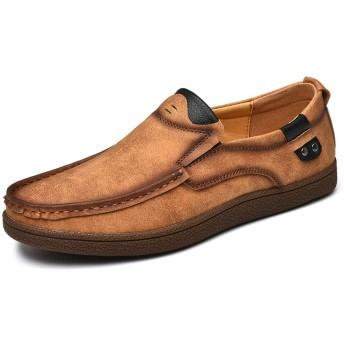 [You Are Fashion] 男性の靴モカシン快適なスリップオンオフィスビジネスドレスフォーマル男性の靴人格ステッチラウンドつま先のための運転夏の本革ローファー (Color : 黄, サイズ : 24 CM)