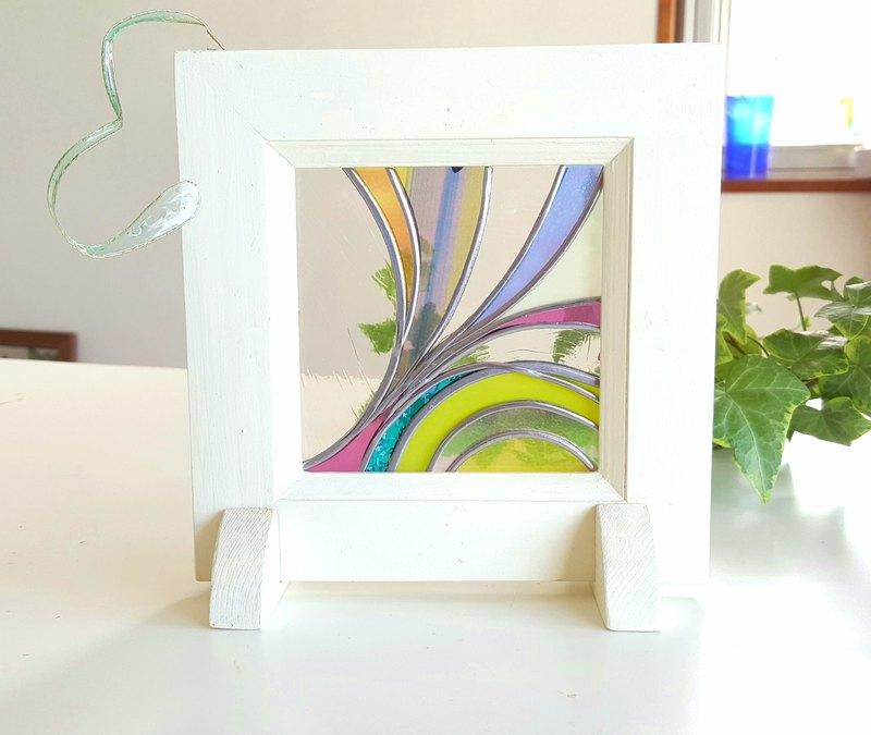 木製框架桌面玻璃藝術春風