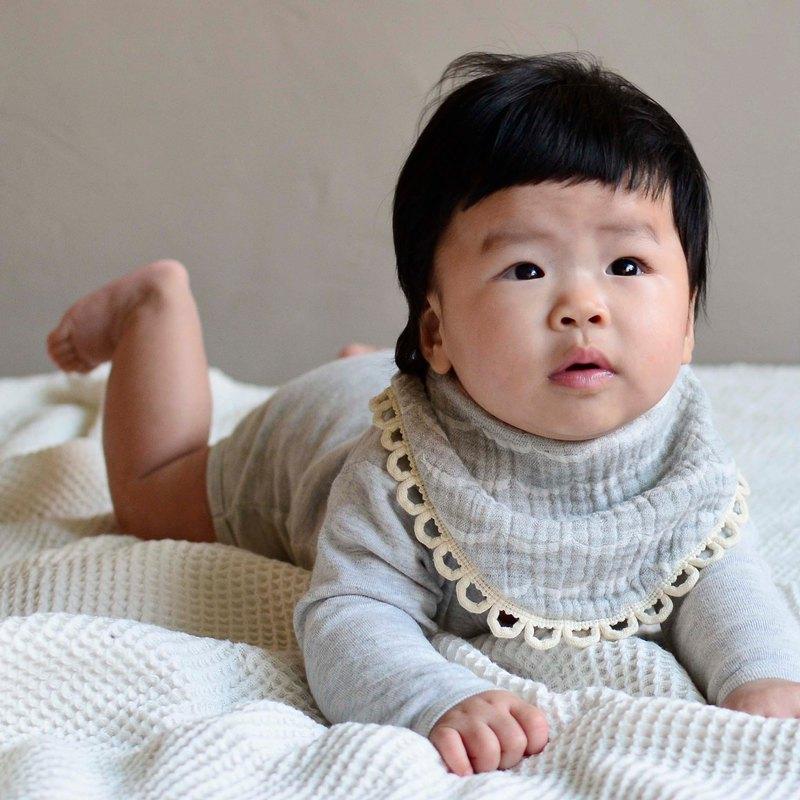【阿呀呀呀我的寶貝】日本六層紗灰色口水巾 圍兜 彌月禮 滿月禮