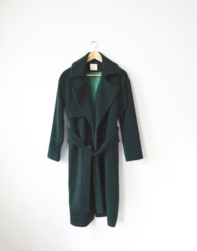 黑/森林綠腰帶式羊毛大衣(5%喀什米爾羊毛/另有其他顏色選擇)