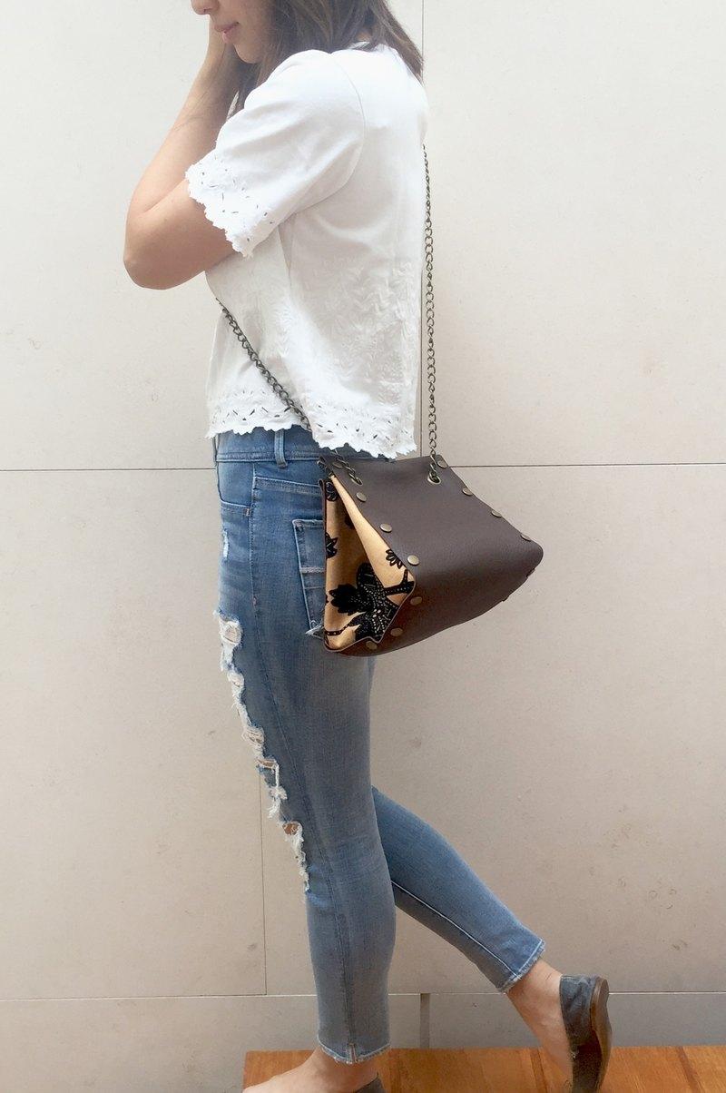 原創 小方形皮革 布包-咖啡色套裝-多款圖案自由配搭隨時替換