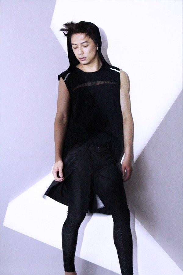 台灣設計師品牌 男裝 時尚 前衛 設計款 流行 開衩 短褲 黑色