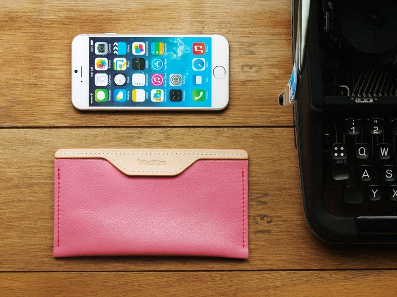 【換季特賣】iPhone 12mini- Peach手工真皮手機殼套(客製化刻印)