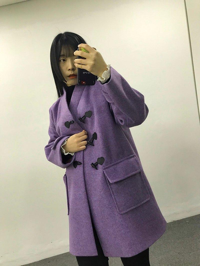 【心跳事 】2019  生活韓服羊毛絨大衣 - 男女通用紫色