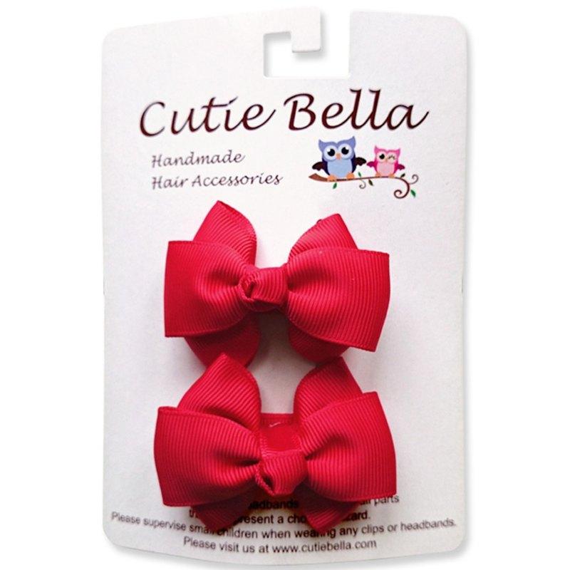 Cutie Bella 夢幻手工髮飾全包布 蝴蝶結髮夾二入組-Red
