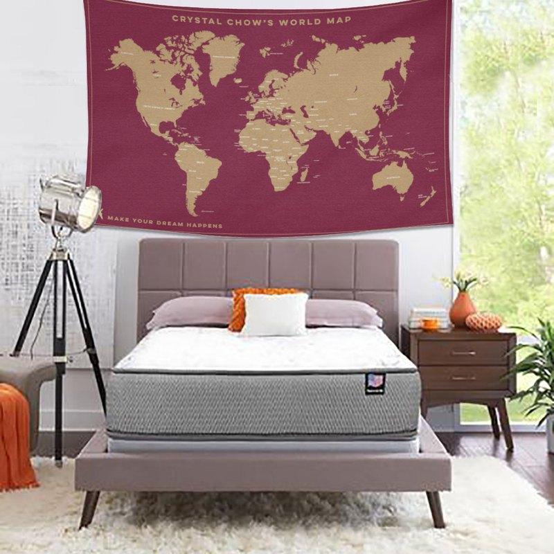情人節禮物-個人化藝術掛布-世界地圖(寶紅色)-情人節禮物 個人化禮物推介