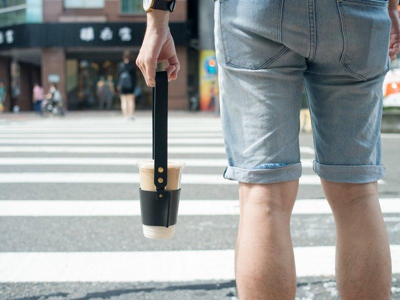 展示偏愛8折區 真皮飲料杯袋  金釦款 環保時尚 逛街 咖啡隔熱套