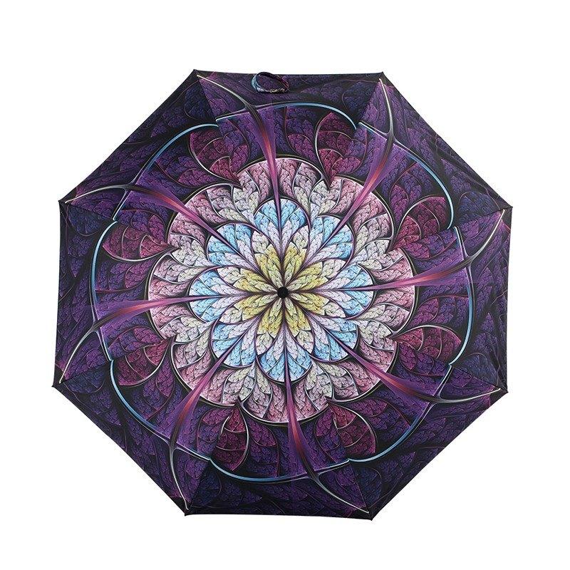 【德國kobold】抗UV降溫10-12度-隱形傘骨-萬花鏡遮陽防曬降溫傘 -雙層三折傘-盛開紫
