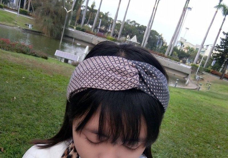 雙色拼接鬆緊帶 交叉款髮帶 hairband *SK*
