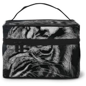 メイクポーチ 化粧ポーチ コスメバッグ バニティケース トラベルポーチ 虎 モノクロ 雑貨 小物入れ 出張用 超軽量 機能的 大容量 収納ボックス