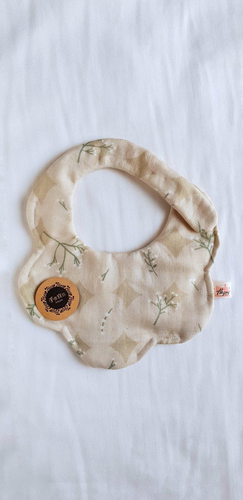 滿天星花卉-棕色-八層紗100%cotton隨性圓弧造型圍兜.口水巾