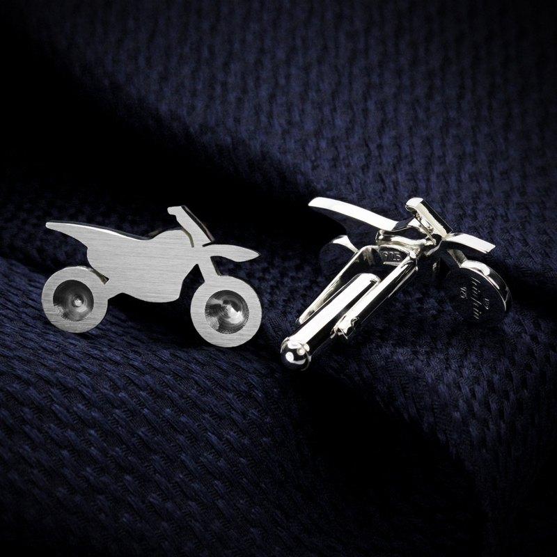 摩托车袖扣 - 自定义袖扣 - 银色袖扣 - 男士结婚袖扣 - 结婚袖扣