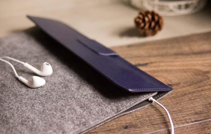 iPad /Pro/Air 9.7 /10.5吋 真皮保護套 - 海軍藍/灰色